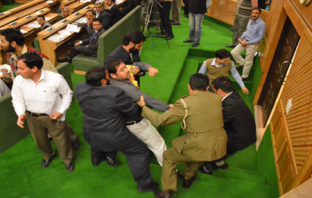 Jammu Youth creating ruckus in JK Assembly being manhandled-Photo:Bilal Bahadur