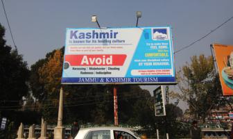 A Hoarding with messages portraying Kashmiris as Cheats -- Photo:Bilal Bahadur.