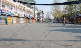 Paramilitary Personal patrol on Lal Chowk Street in Srinagar, 25 November 2012, as part of the measures taken by local authorities to prevent religious processions during restrictions. Restrictions were imposed in some parts of Srinaga