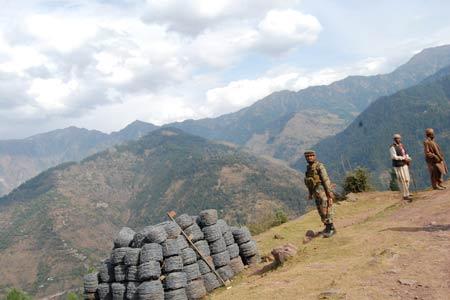 A Trooper standing gaurd near LoC -- Photo: Bilal Bahadur