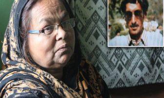 Dilshada at her residence in Zakoora on the outskirts of Srinagar | Inset: Dilshad's missing Husband Bashir Ahmed Sheikh -- Photo: Hashim Hakeem