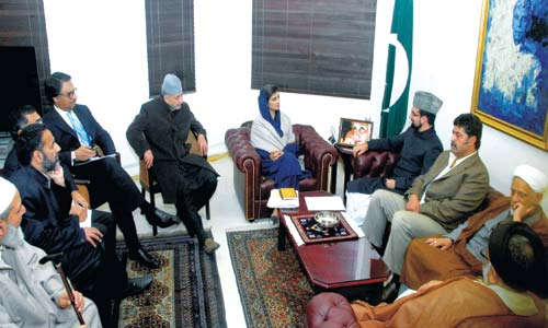 Hurriyat (M) delegation during a meeting with Pakistani foreign minister Hina Rabani Khar