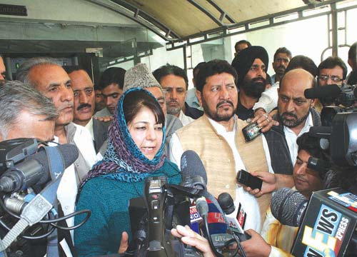 Mehboba Mufti talking to reporters outside the assembly on September 28,2011.