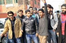 Technical Board students during protest in Srinagar. (Photo: Bilal Bahadur/KL)
