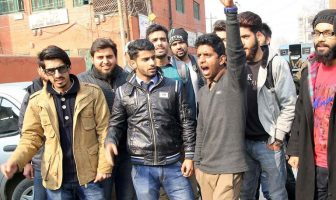 Technical Board students during protest in Srinagar. (Photo: Bilal Bahadur/KL)
