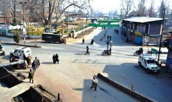 Shutdown: Pulwama Chowk on Sunday.