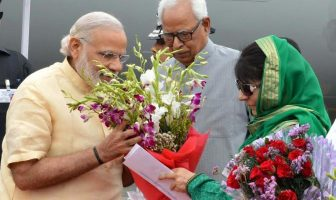 CM Mehbooba received PM Modi in Jammu early Tuesday on April 19, 2016.