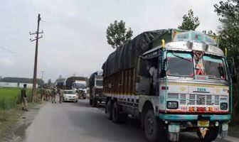 Trucks carrying fruits and other material moved out of Kashmir on Monday.