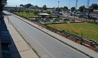 It is complete shutdown in Lal Chowk on September 04, 2016 when All Party Delegation is in Srinagar. (KL Image: Bilal Bahadur)