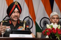 New Delhi: Director General Military Operations (DGMO), Ranbir Singh salutes after the Press Conferences along with External Affairs Spokesperson Vikas Swarup, in New Delhi on Thursday. India conducted Surgical strikes across the Line of Control in Kashmir on Wednesday night.