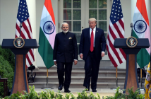 PM Narendra Modi and US president Donald Trump arrive at a joint presser after the duo hold bilateral meeting on June 26, 2017 in Washington DC.