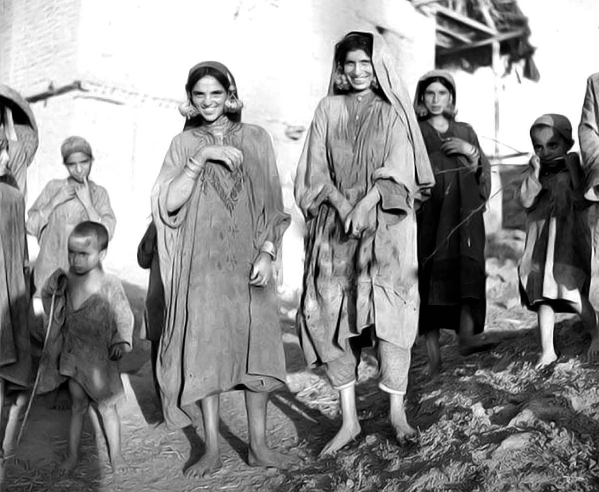 An undated photography exhibiting abject rural poverty in Kashmir.