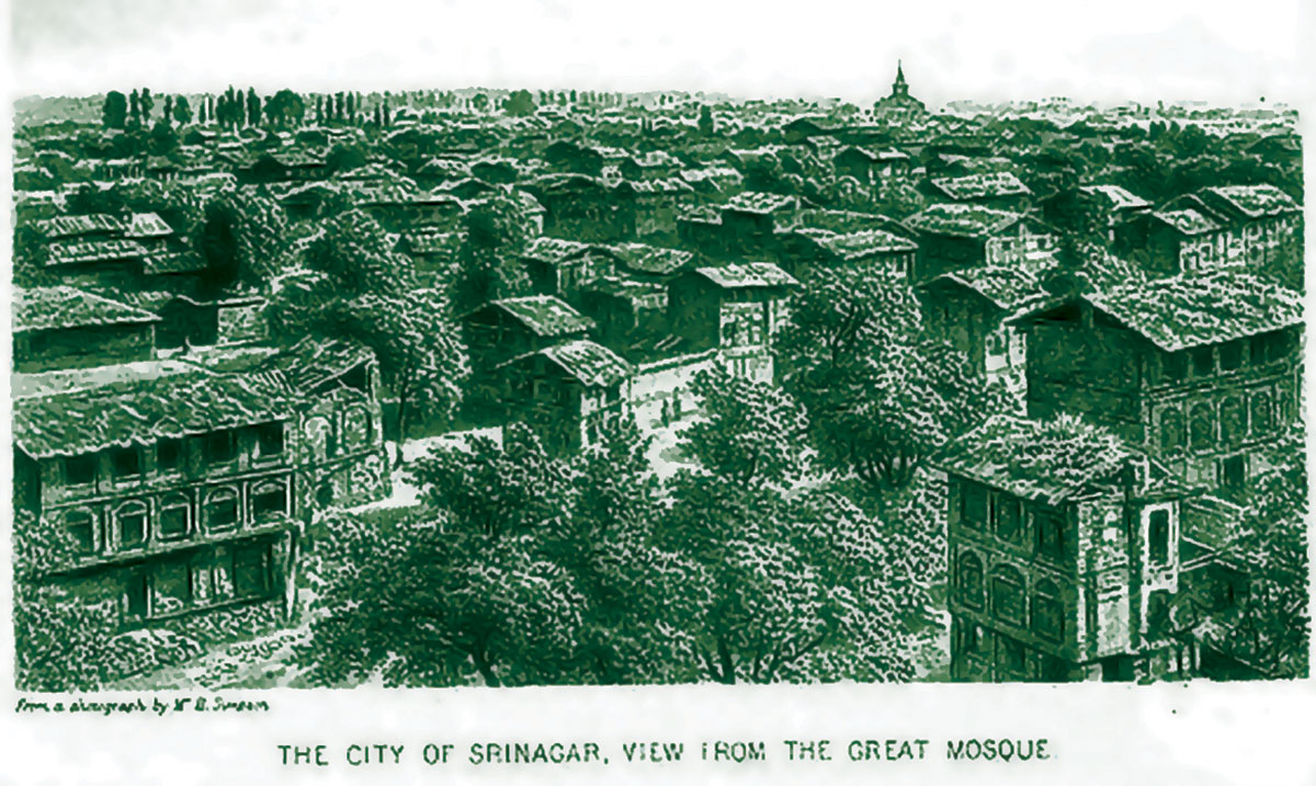 An image of an organised Srinagar city. This Srinagar was visible from the Jamia Masjid.