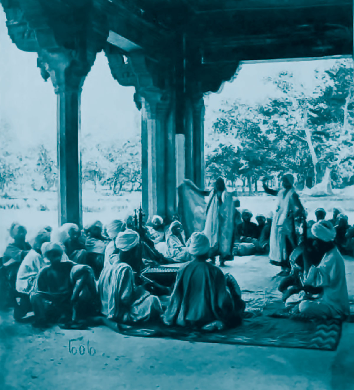 An undated photograph of Kashmiri singers performing in a private function.