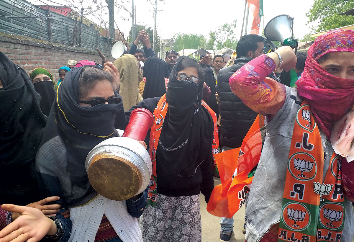 BJP workers during an election campaign in South Kashmir.