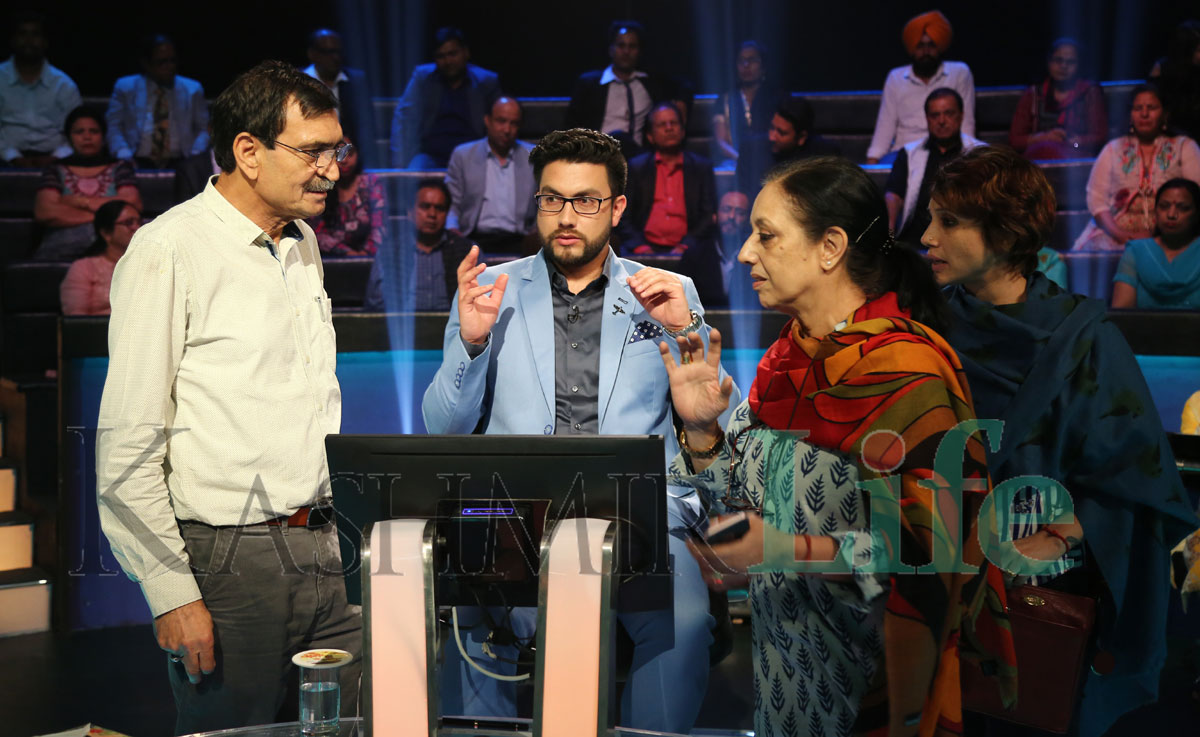 Anchor Rais Mohiuddin and Group's Creative team Anita Kaul Basu and Mohiuddin Mirza on the sets of the show. KL Image: Special Arrangement Kashmir Life KBC