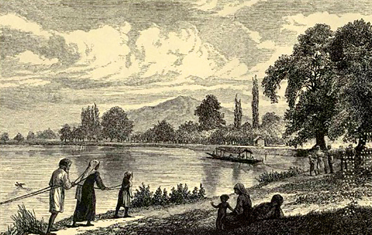 This is how the families would chip in and row the bigger boats carrying visitors to Kashmir. This illustration belongs to 1870 period.