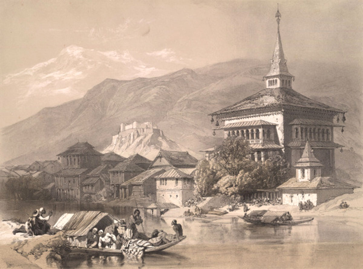 This lithograph drawn by James Duffield Harding (1798-1863) was an English landscape painter somewhere in 1847, shortly after Kashmir was sold under Treaty of Amritsar.
