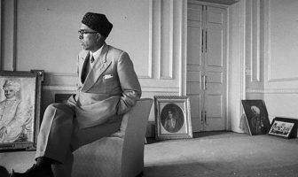 A rare photograph showing Sheikh M Abdullah in the Royal Palace at Srinagar in late 1947.