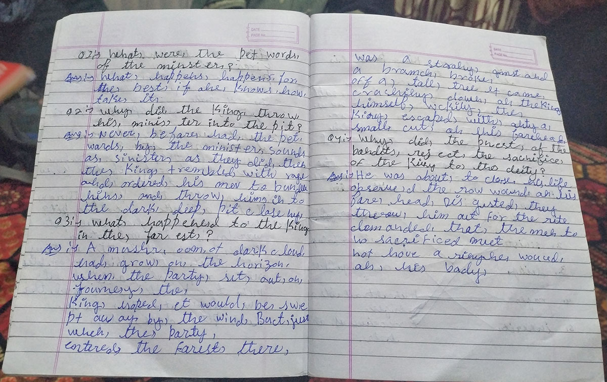 A snap of Fareeda's english notebook. KL Image: Aaqib Hyder