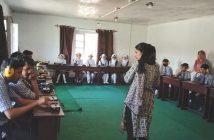 Farzana in AV lab at Modern School Solina.