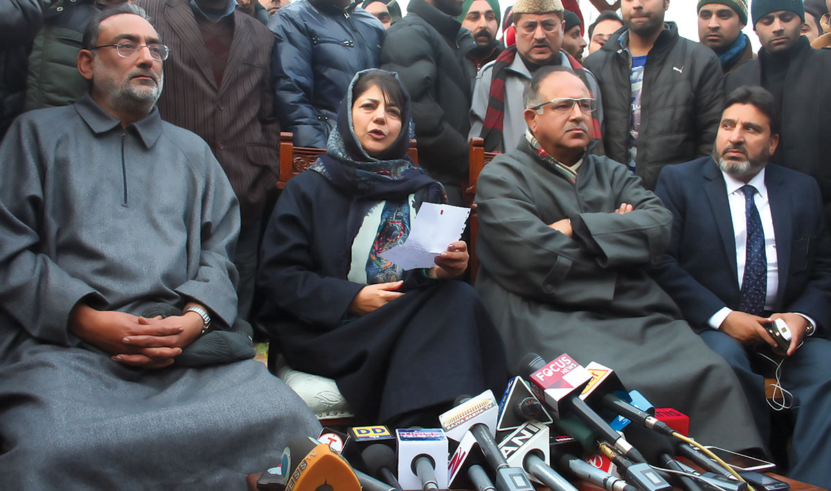 Mehbooba Mufti with her erstwhile party members.