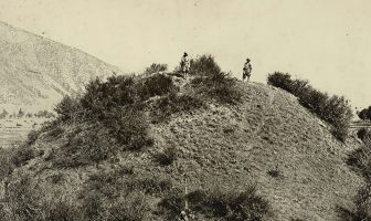 Photograph of a Buddhist stupa mound near Baramulla in Jammu and Kashmir, taken by John Burke in 1868. Buddhism was established in Kashmir from the third century BC but declined by the 8th century AD, eclipsed by Hindu Vaishnavism and Shaivism. Two of the most important sites for Buddhist remains in the Kashmir valley are Harwan near Srinagar and Ushkur near Baramulla.