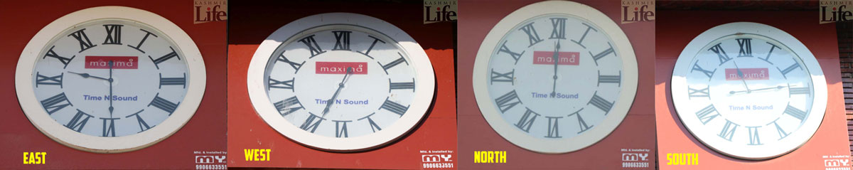 Four clocks, four time settings: None belonging to Kashmir.  (KL Image: Bilal Bahadur)