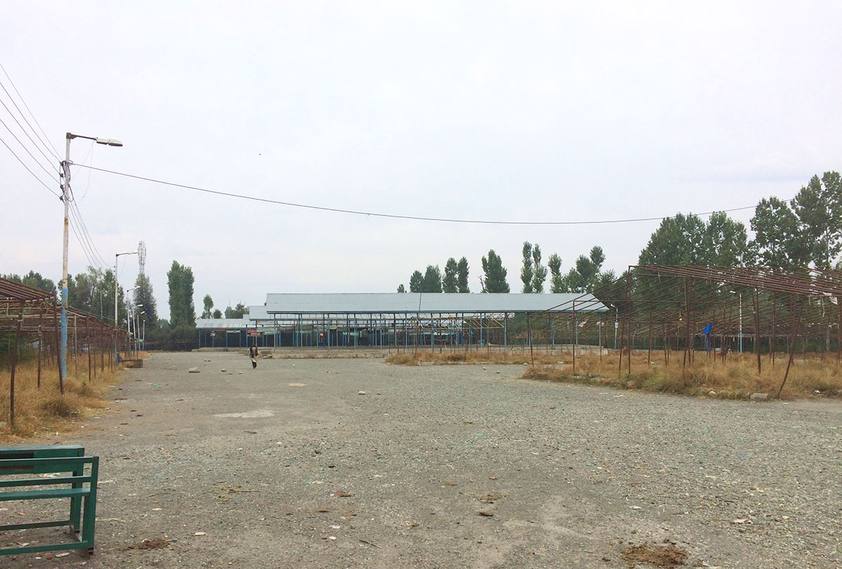 A deserted view of Shopian's Fruit Mandi.