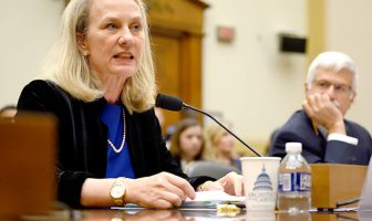 Alice G Wells, acting assistant secretary testifying before HFAC as her colleague Robert Destro is watching.