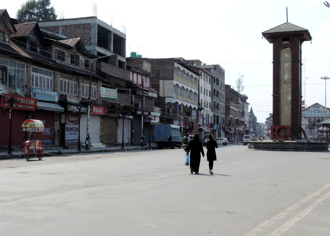 A deserted view of Lal Chowk as shutdown completes more than 2 months. KL Image: Bilal Bahadur