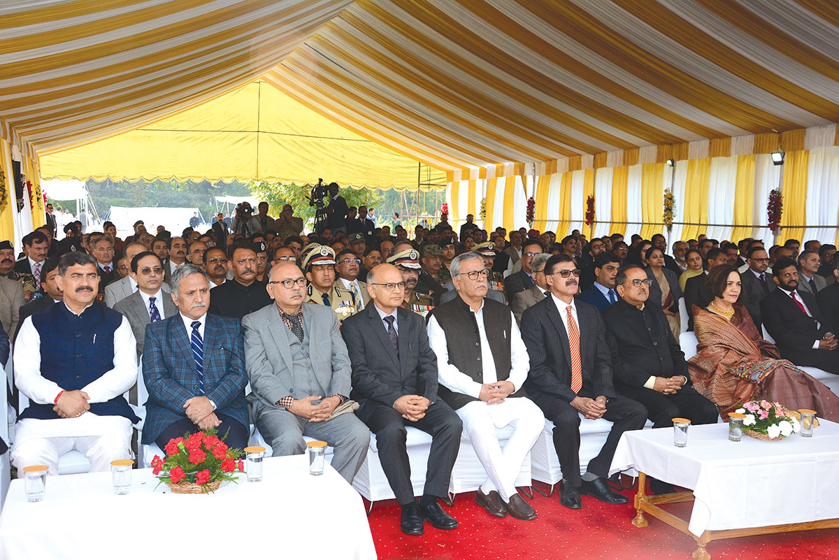 Advisors, politicians and other officials during LG's oath ceremony. KL Image by Bilal Bahadur
