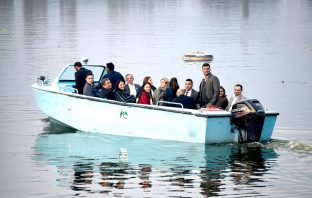 EU delegation enjoying a boat ride in Dal Lake Srinagar. KL Image by Bilal Bahadur