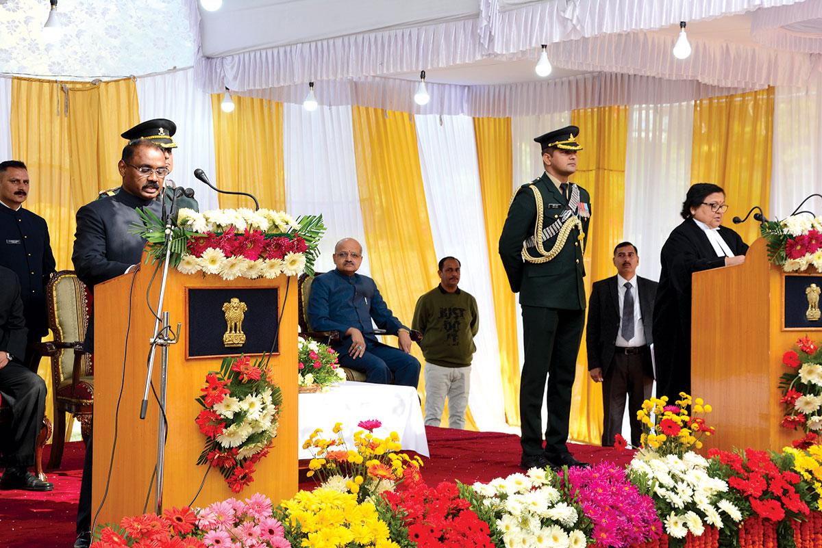 Girish Chandra Murmu taking the oath as Lt Governor. KL Image by Bilal Bahadur