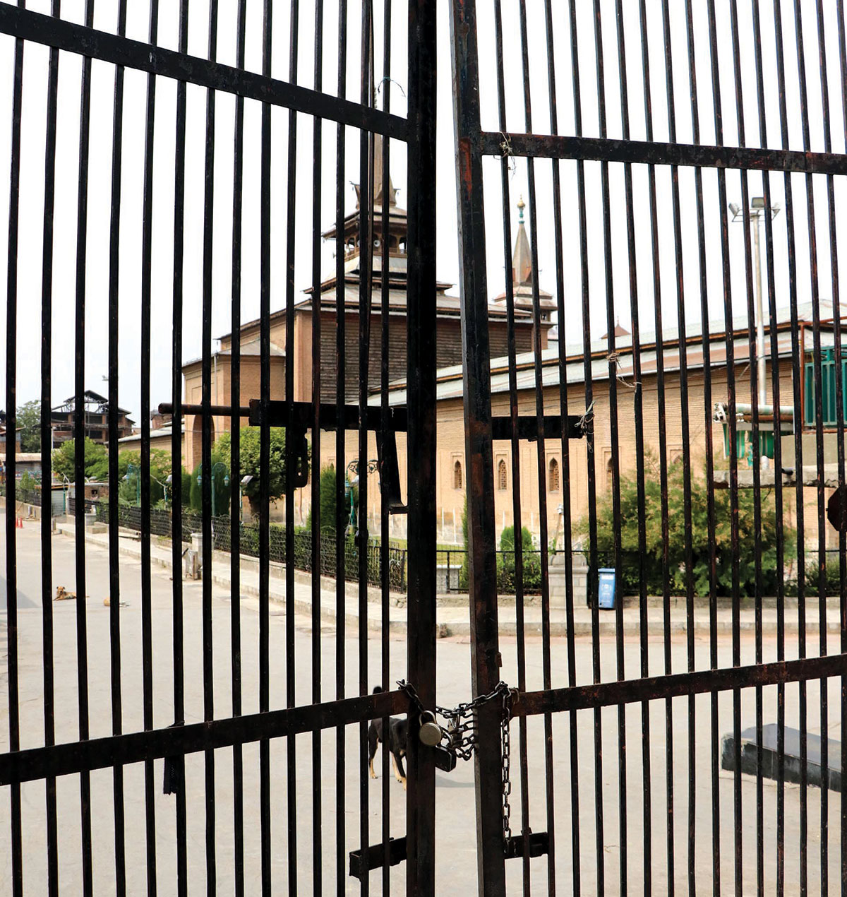Locked gates of Jamia Masjid Srinagar.