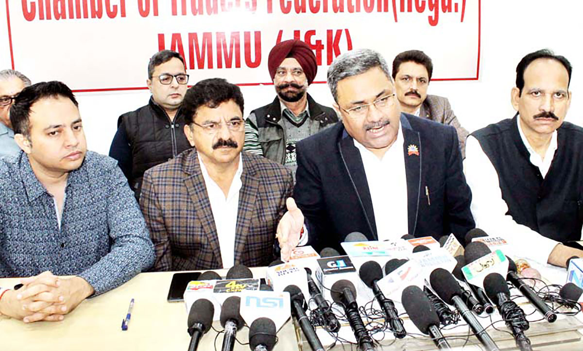 Leaders of Jammu Chamber of Traders Federation during a press conference.