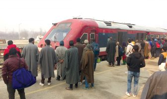 Passengers waiting to board Banihal train at Anantnag station. KL Image by Umar Khurshid